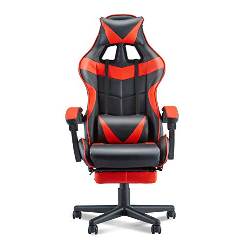Soontrans Red Gaming Chair with Footrest, Game Chair, PC Computer Chair, Gamer Chair with Hight Adjustment, Lumbar…