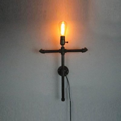 (hua Wrought Iron Cross Single Light Pipe Wall Sconce in Black Finish)