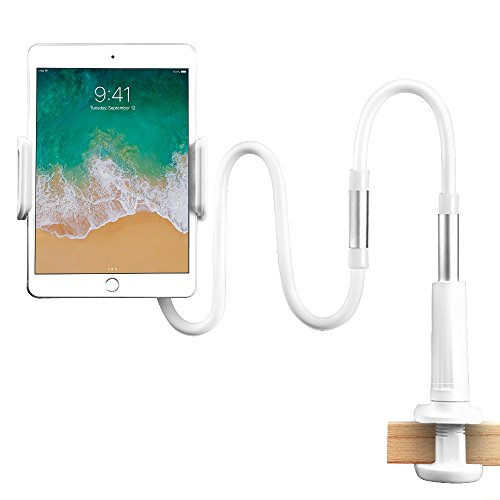StillCool Gooseneck Tablet Stand, Tablet Mount Holder for iPad iPhone Series/Nintendo Switch/Samsung Galaxy Tabs/Amazon Kindle Fire HD and More (White)