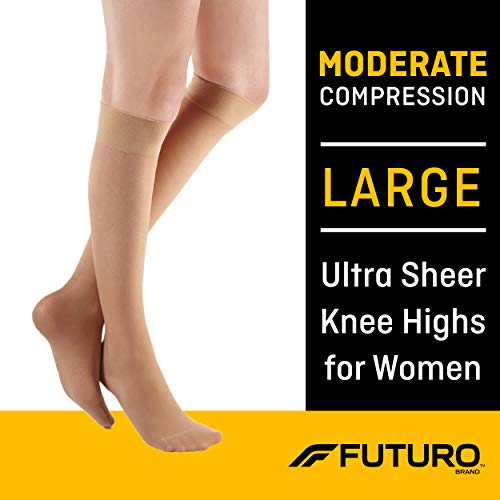 Futuro Revitalizing Ultra Sheer Knee Highs for Women, Moderate Compression, Large, Nude