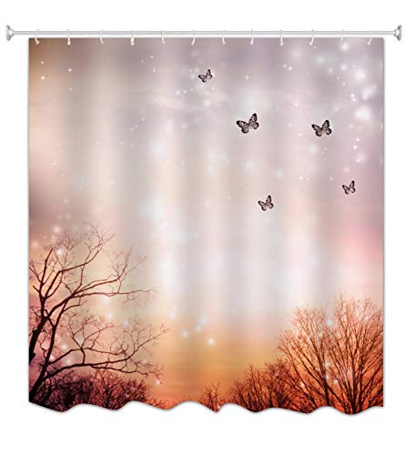 A.Monamour Orange Bokeh Lights Backgrounds Butterfly in Forest Enchanted Fairy Scene Halloween Themed Waterproof Fabric Polyester Shower Curtain for Bathroom Decors 180x200 cm / 72