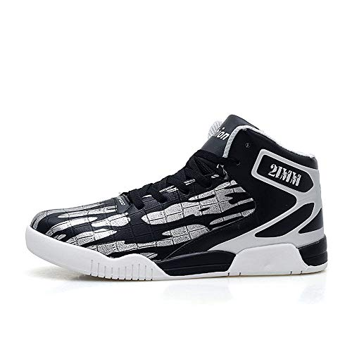 Men's Fashion Street Top Silver Leather Casual Black Shoes Sneakers High FZUU Sports pwFCqp
