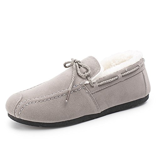 Loafers Women's Shoes Warm Men's Oxford Casual Slip on Fully Lining Fur Grey Shoes Flats Winter xBIwaqBrvn
