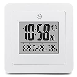 MARATHON CL030049WH Digital Wall Clock with Day, Date, Week Number, Temperature, Alarm & Moon Phase. White - Batteries Included