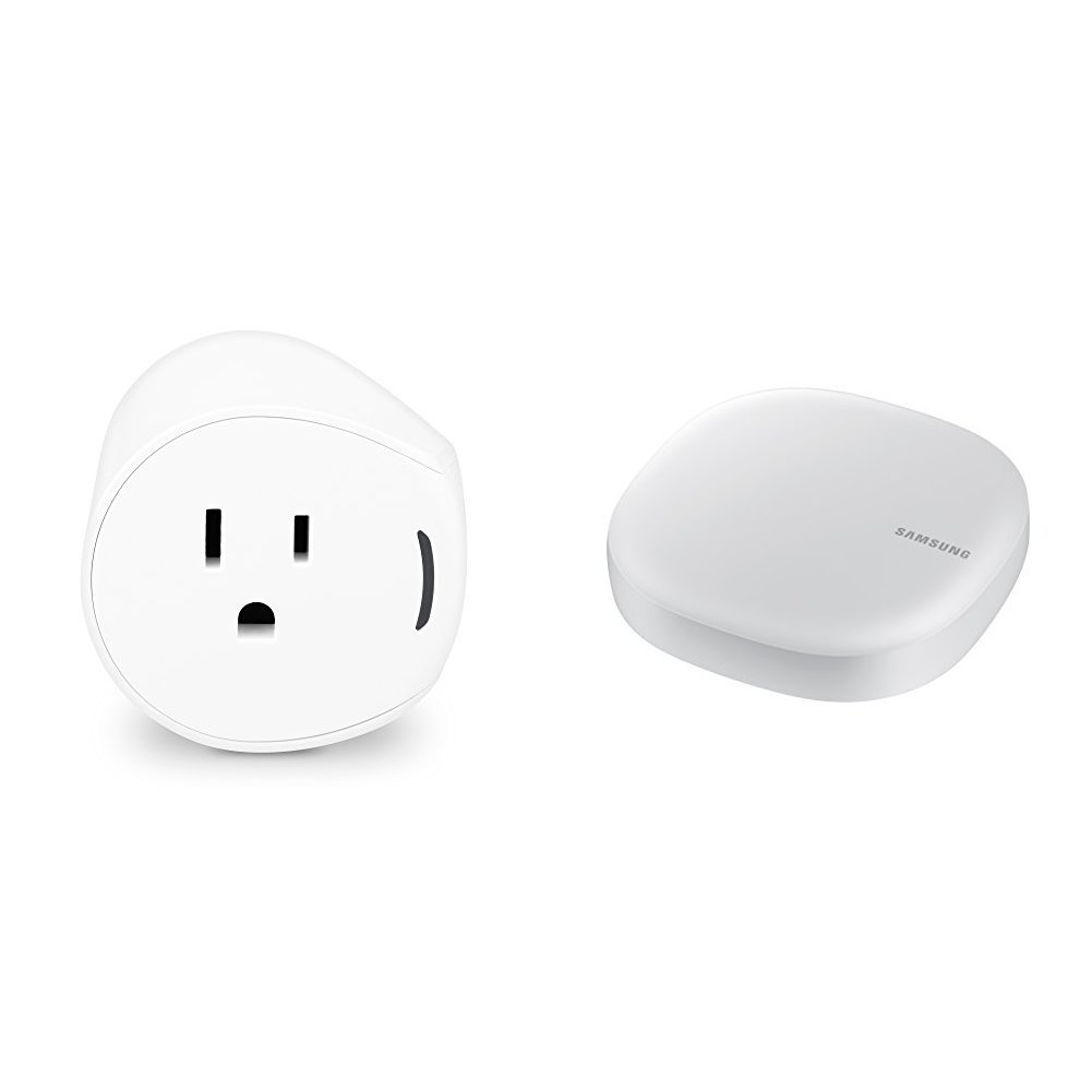 Samsung SmartThings Outlet, White + Samsung Connect Home AC1300 Smart Wi-Fi System (Single), Works as a SmartThings Hub