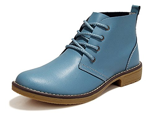 Comfortable Motorcycle Ankle Shoes Boots Genuine Female Woman Low Lace Blue sport Fashion hott Heels Leather Platform up gqY6Xqw