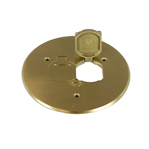Enerlites 975517-C 5.75'' Brass Dual Flip Lid Cover by Electrical Floor Box Lid, 20A Duplex Tamper-Weather Resistant Outlet, UL Listed by Enerlites (Image #9)