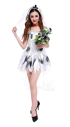 UreeUine Women's Halloween Costume Ghost Spirit Party Dress XL White -