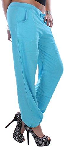 Mujer Pantalón Pantalón de lino para Aladin Pump Harén 9Colors 36s–�?4XXL Azul