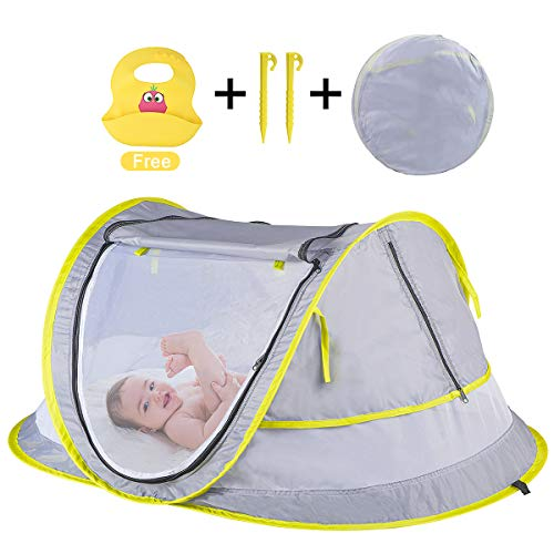 Baby Beach Tent,Portable Baby Travel Bed with Baby bib,UPF 50+ Infant Sun Shelters Pop Up Folding Travel Bed Mosquito Net Sunshade with 2 Pegs, Ultralight Weight Tent for Infant Kids Home and Outside