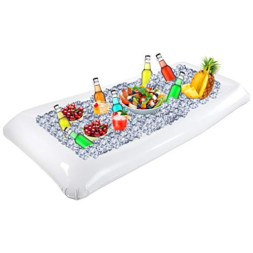 Outdoor Inflatable Buffet Cooler Server - White Blow Up Cooling Tub For Serving Buffet Style Picnic -