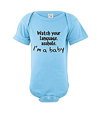 Esti's Baby Couture Watch Your Language Asshole I'm A Baby   Funny Baby Girl Boy One Piece Bodysuit