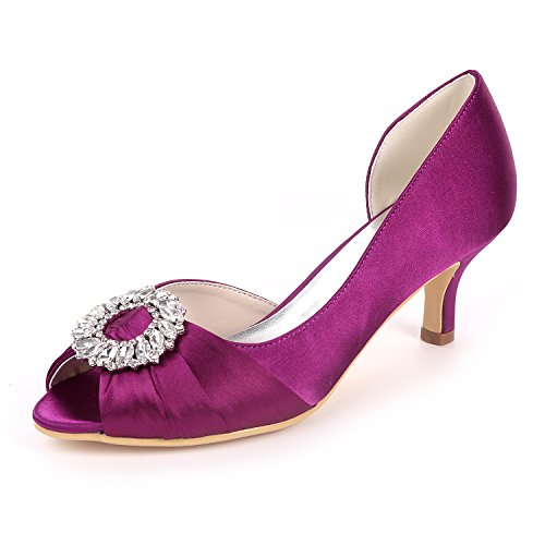 Sandals Purple UK3 Rhinestones Heels Shoes Mid Satin Bombas Mujeres 08B Flower Open Wedding Court Ager Toe Party EU36 Y1195 CqYTHF