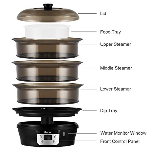 COSTWAY Food Steamer Vegetable Steamer 3 Tier Stackable Baskets 20 Quart Capacity 1000W Fast Heat-Up Timing, Automatic Shut Off, Appointment Electric Pot Cooker w/Food Tray by COSTWAY (Image #5)