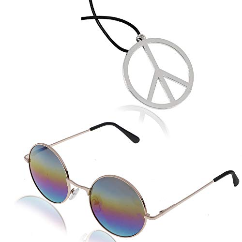 AOPOO Hippie Sunglasses and Peace Sign Necklace for 60's or 70's Hippie Themed Party Accessory Set