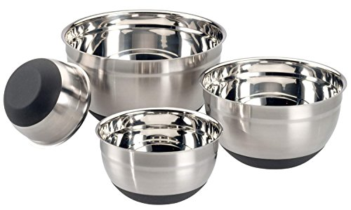 Stainless Steel Mixing Bowls with Non-Slip Silicone Base ~ 1-1/2, 3, 5 and 8-Quart ~ Set of 4