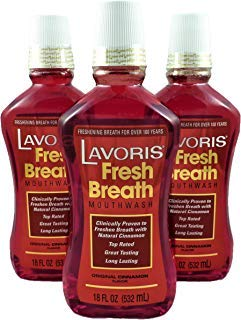 Lavoris Mouthwash LARGER SIZE Cinnamon Original Flavor - 3 Pack of 18 oz Bottles (54 oz. total) ()