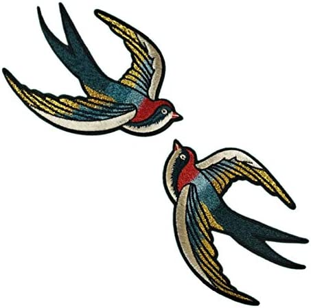 Flying Swallow Pair red Iron on Sew on Embroidered Patch #1688