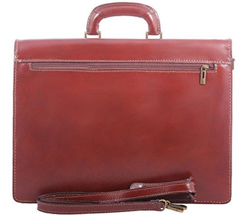 Bag Organizer Männerarbeit, Aktentasche Italienisch, Aktentasche, echtes Leder 100% Made in Italy Braun