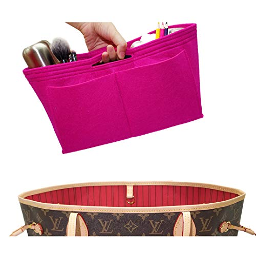(LEXSION Felt Handbag Insert Organizer Bag In Bag with Two Removeable Holder 8020 Rosy L)