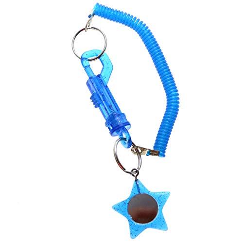 (Star Mirror Stretch Lobster-Clasp-Keychain Blue/Silver-Tone)