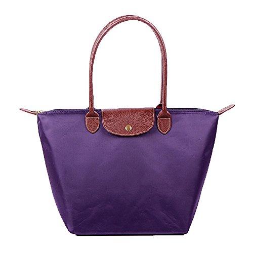 KARRESLY Women Fashion Nylon WaterProof Zipper Bag Dumpling Folding Tote Shoulder Travel Shopping Sport Handbag(purple M)