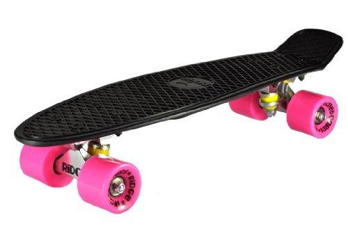 Ridge Skateboards 27 Inch Big Brother Retro Cruiser Skateboard - UK - Nickel Board Pink