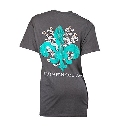 Southern Couture SC Classic Cotton Fleur Classic Fit Adult T-Shirt - Charcoal, 2XL