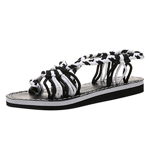 Haalife◕‿Flat Sandals for Women Summer Open Toe Criss Cross Ankle Straps Buckle Flat Sandals White