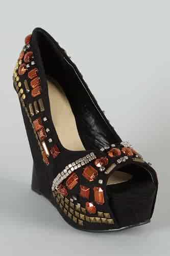 b078c7c3df4 Chunky Bling Vegan Peep Toe Platform Funky Wedge Women s Shoes