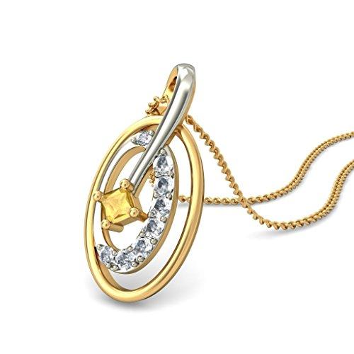 14K Or jaune 0,14CT TW Round-cut-diamond (IJ   SI) et citrine Pendentif