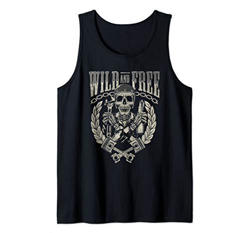 (Skull Biker Gift Motorcycle Wild and Free Tank Top)