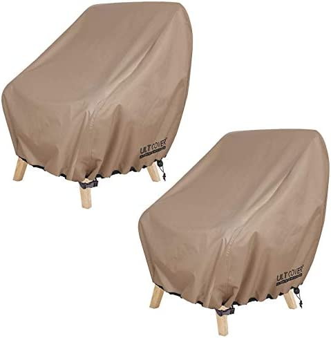 ULTCOVER Waterproof Patio Chair Cover – Outdoor Lounge Deep Seat Single Chair Cover 2 Pack Fits Up to 32L x 34W x 34H inches
