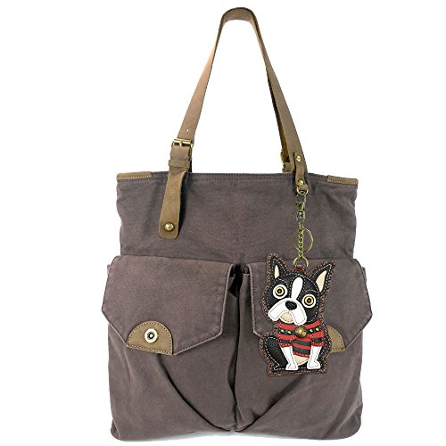 Chala Large Canvas Double Pocket Tote with Leather Strap and CHALA Key-fob - Dark Brown (Boston)