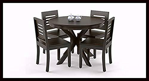 Krishna Wood Decor Furniture Solid Sheesham Teak Wood Round 4 Seater Dining Table with 4 Chairs Set for Dining Room…