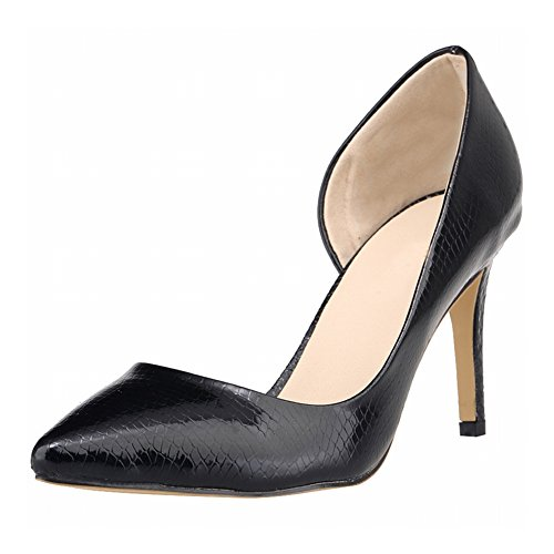 Crocodile Black Meijunter Stiletto Femmes Chaussures Hauts Superficielle Talons Empty Printemps Side Bouche CrwrxPqX