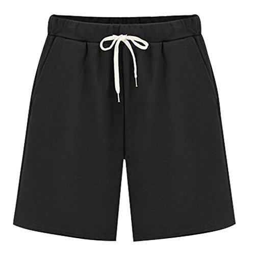 Womens Brushed Jersey Shorts - XinDao Women's Soft Knit Elastic Waist Jersey Bermuda Shorts with Drawstring Black US 10-12/Asia 3XL