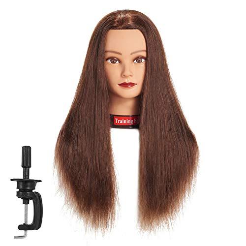 "Traininghead 24""-26"" 100% Human Hair Mannequin Head Training Practice Head Cosmetology Manikin Head Doll Head With Free Clamp (dark brown)"