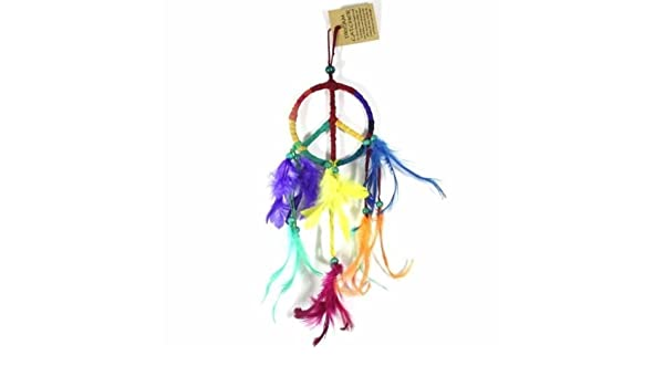 9cm Dream Catcher Leather Rainbow Peace Symbol Design with Feathers