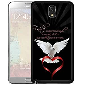 Blessed Faith is Like the Angel Quote with White Dove Holding Red Heart Hard Snap on Cell Phone Case Cover Samsung Galaxy Note 3 N9000 by lolosakes