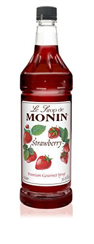 Monin Strawberry Syrup - Great For Flavoring Shakes, Cocktails, Soda, And Desserts - 1 Liter Bottle - Cocktail Strawberry