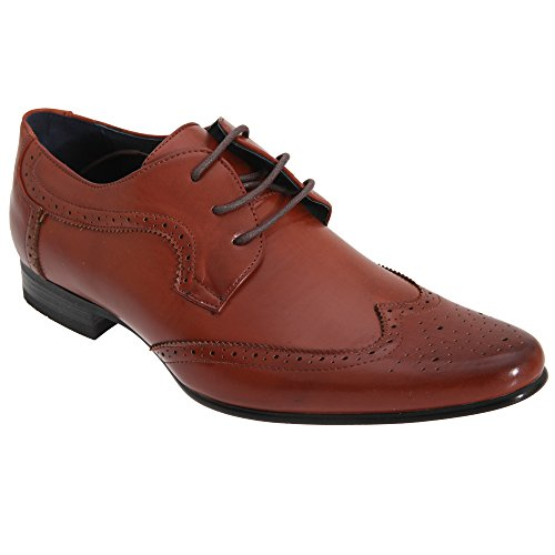 Route 21 Mens 3 Occhielli Brogue Gibson Scarpe Tan