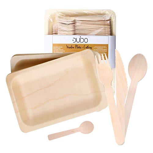 Disposable Wooden Cutlery Utensils Set - (Pack of 150) 30 7.8-inch Plates 30 Forks 30 Knives 30 Spoons 30 Small Spoons Eco-Friendly Silverware Compostable Flatware Biodegradable Better Than Bamboo Pal