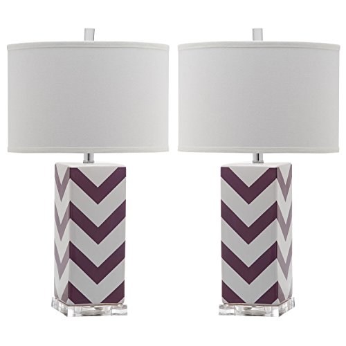 Safavieh Lighting Collection Chevron Stripe Purple 27-inch Table Lamp (Set of 2)