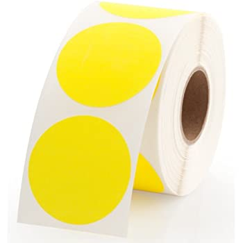 Yellow round color coding inventory labeling dot labels stickers 1 5 inch round labels 500