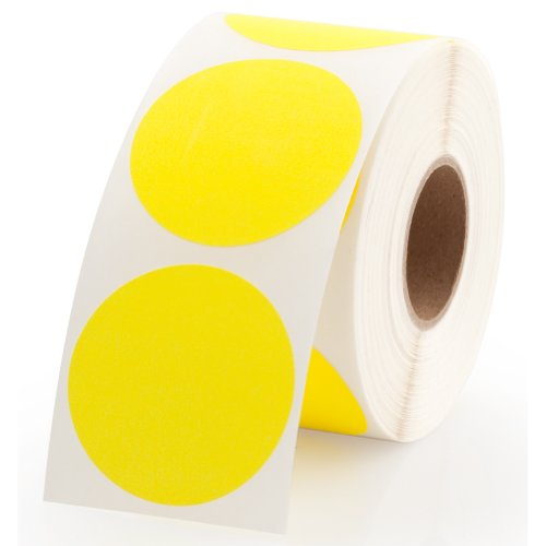 Yellow Round Color Coding Inventory Labeling Dot Labels / Stickers - 1.5 Inch Round Labels 500 Stickers Per Roll