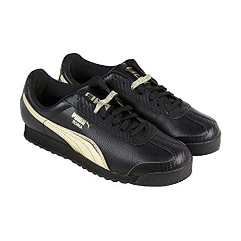 Puma Roma L Metallic Mens Black Leather Lace Up Lace Up Sneakers Shoes 12