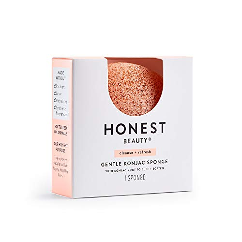 Honest Beauty Gentle Konjac Sponge with Pink Kaolin Clay   Paraben Free, Dermatologist Tested, Cruelty Free   1 Sponge