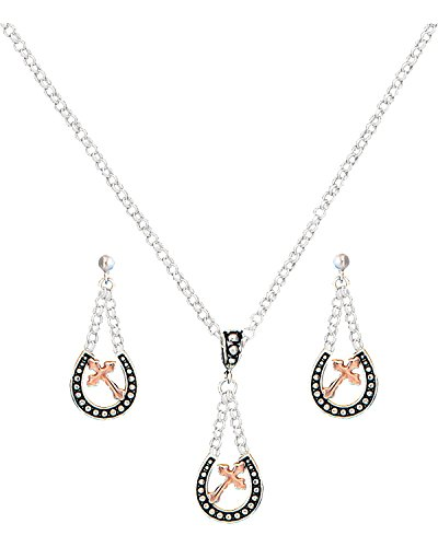 Women's Beaded Horseshoe And Cross Necklace Earrings Set Silver One Size (Silver Horseshoe Lady Ring)