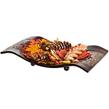 Creative Scents Schonwerk Centerpiece Dish- Crackled Mosaic Design- Functional Table Decorations- Centerpieces for Dining/ Living Room/ Bedroom Decor - Best Wedding/ Anniversary Gift (Walnut)